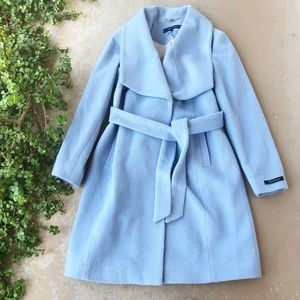 Cole Haan Blue Belted Wrap Pea Trench Coat